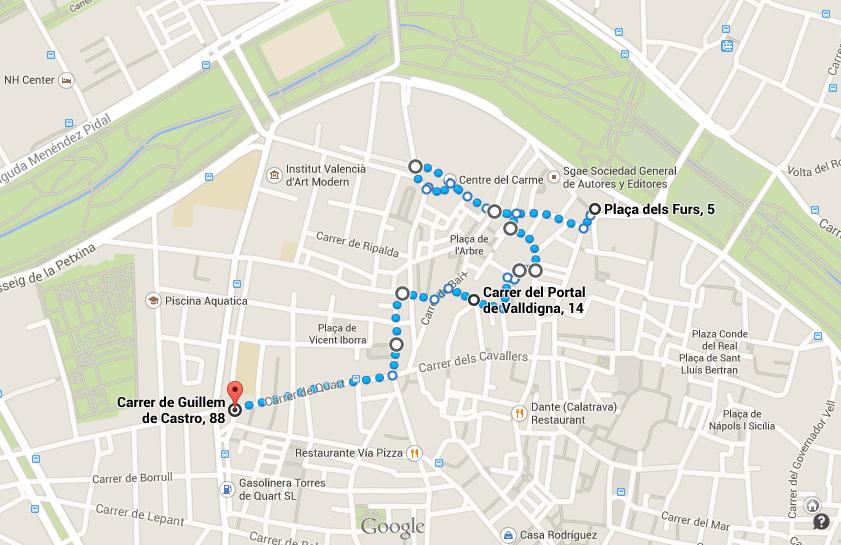 Eine Karte mit einer Route durch die Altstadt