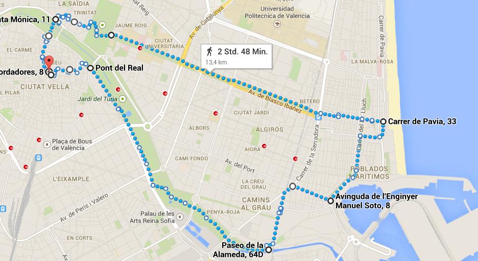 Das Bild zeigt die Route bei Google Maps an