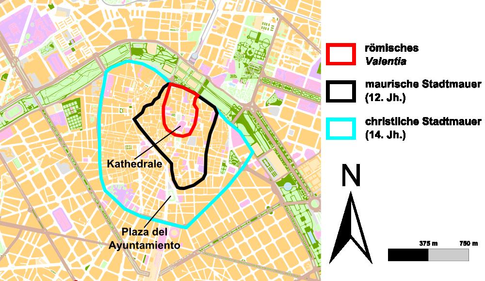 Man sieht eine Karte mit dem Verlauf der ehemaligen Stadtmauern Valencias